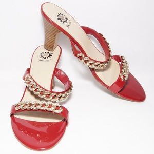 """Yellow Box """"Erotic"""" red sandal with gold chains"""